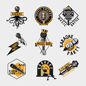 Vintage label set with mic. Retro style emblem design. Old microphones vector icons.