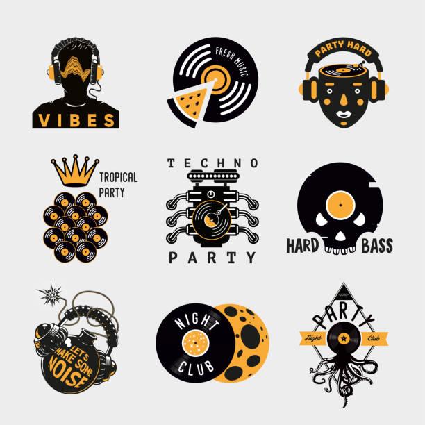 bildbanksillustrationer, clip art samt tecknat material och ikoner med vintage etikett som med vinyl. ikoner för nattfestvektor. retro stil emblem design. - hip hop poster