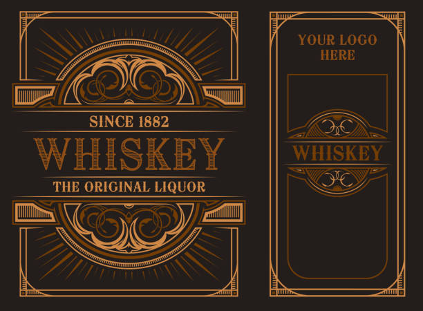 Vintage label template for whiskey. Vintage label template on a dark background. On the front and back side. All elements in separate groups alcohol drink borders stock illustrations