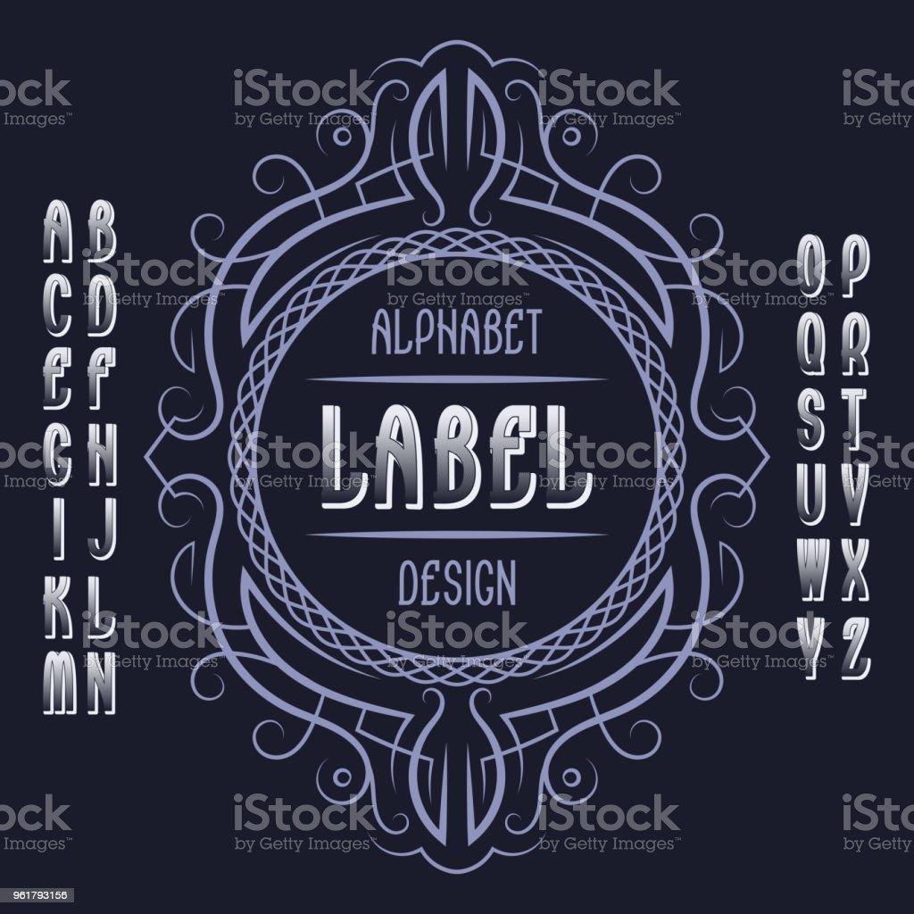 Vintage Label Template In Patterned Frame Isolated Design Elements