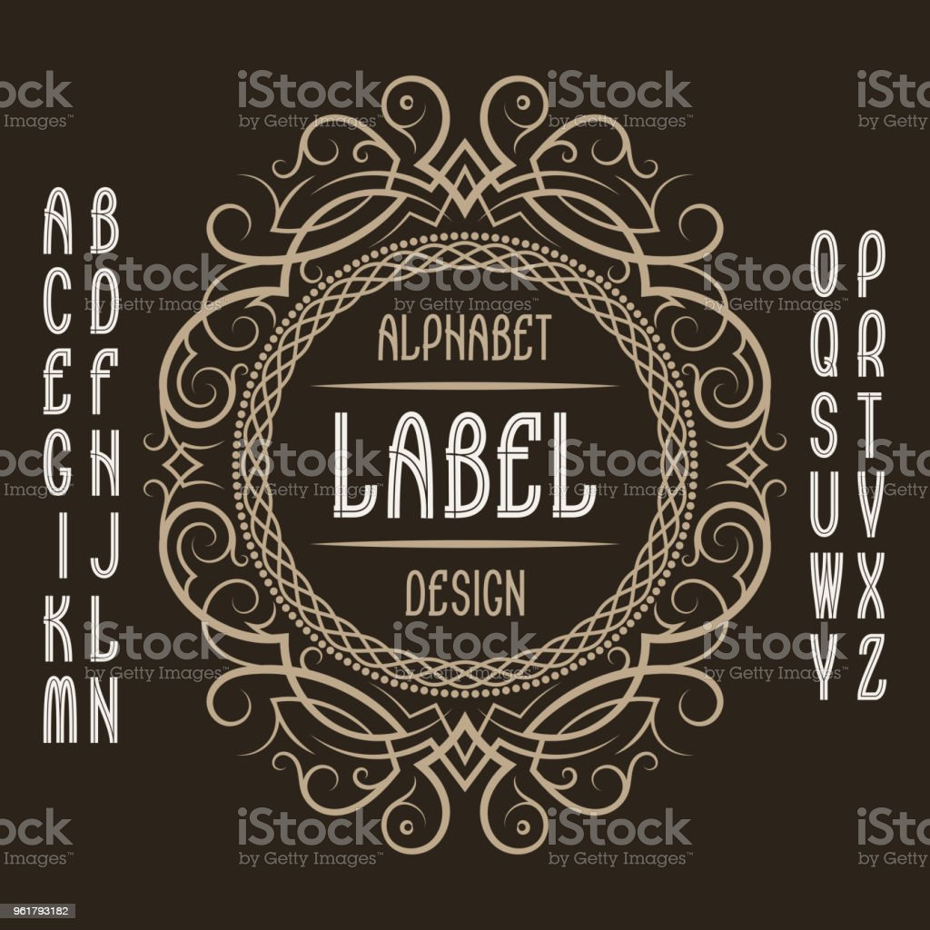 Vintage Label Template In Patterned Frame Isolated Design Elements