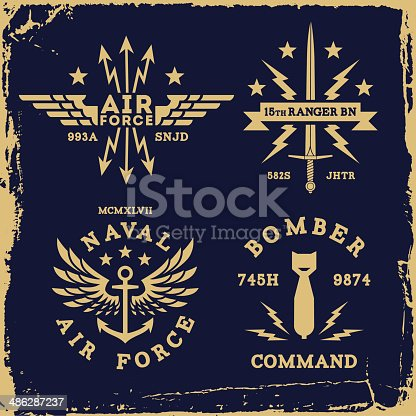 vintage military label wing bomb anchor ( T-Shirt Print )
