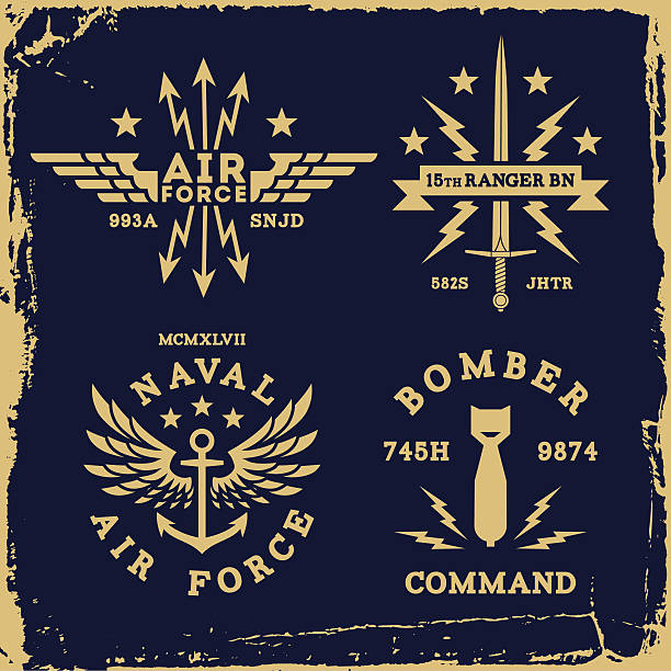 vintage label vintage military label wing bomb anchor ( T-Shirt Print ) air force stock illustrations
