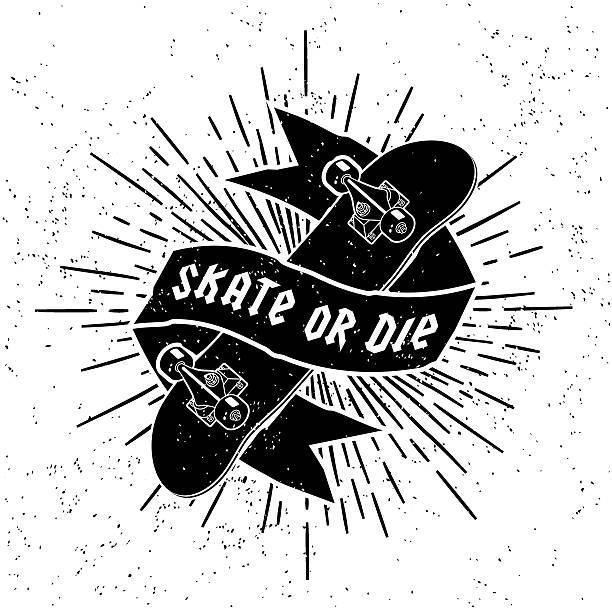 vintage label - skateboard stock illustrations