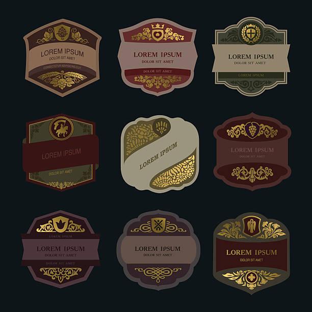 vintage label, wine label, beer label - alcohol drink designs stock illustrations