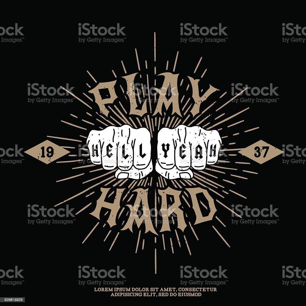 vintage etiqueta con puño - ilustración de arte vectorial