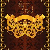 istock Vintage label with golden elephant, banner, border and floral pattern 112153650