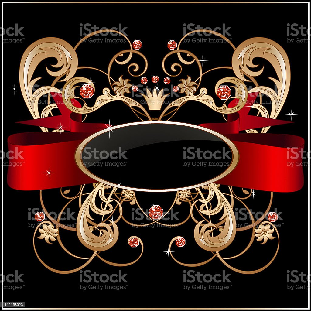 Vintage label with red banner, jewels, floral ornament and frame royalty-free stock vector art
