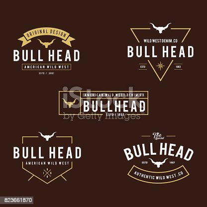 an amazing illustration of Vintage label with silhouette of bull head, Texas Wild West theme in white background