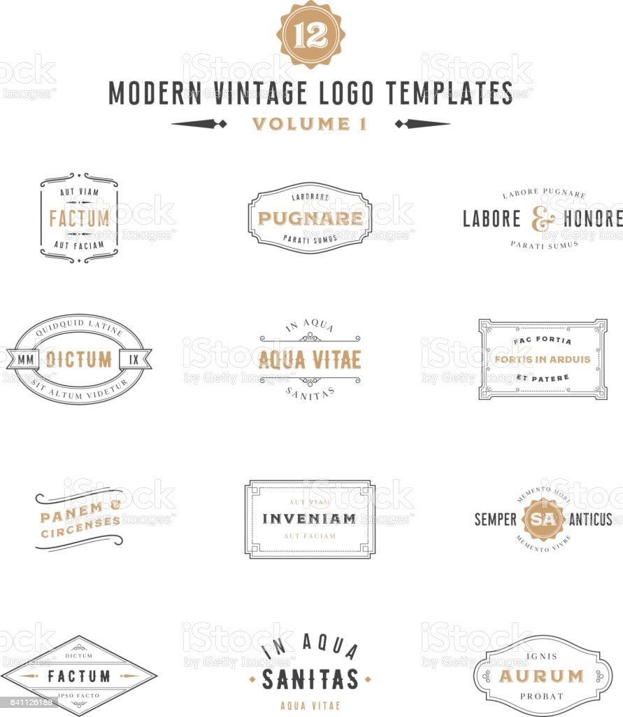 Vintage Labels and icon Templates vector art illustration