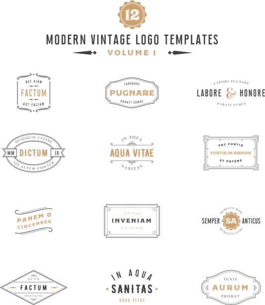 Vintage Labels en pictogram sjablonen​​vectorkunst illustratie