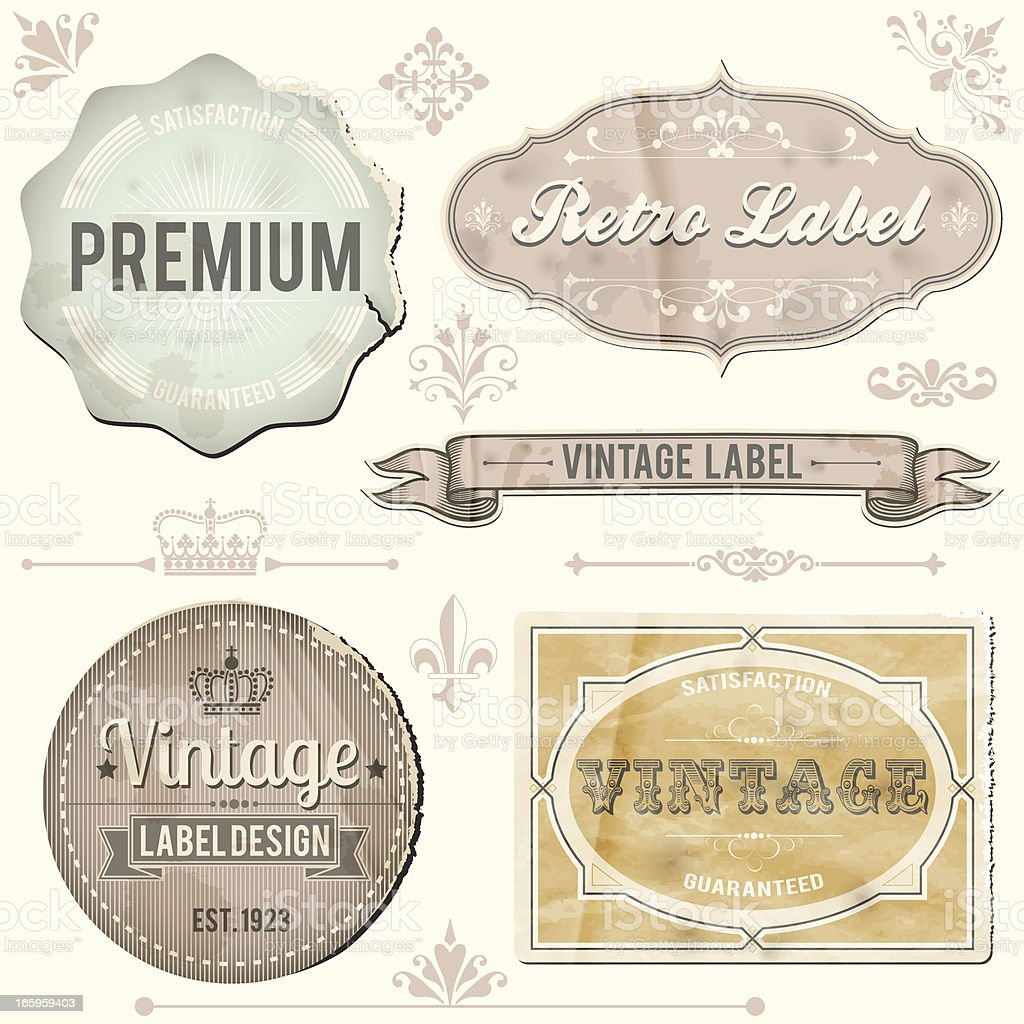 Vintage labels and ornaments royalty-free stock vector art