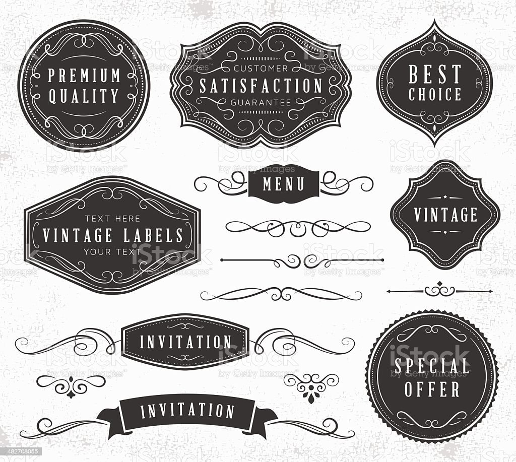 Vintage Labels and Ornaments royalty-free vintage labels and ornaments stock vector art & more images of badge