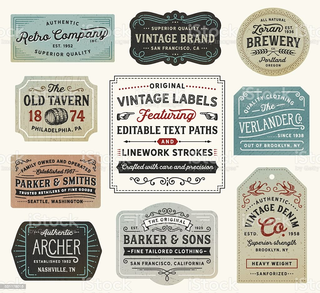 Vintage Labels and Signs vector art illustration