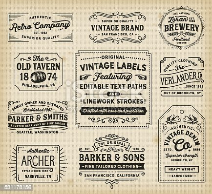 Retro labels, signs, frames, banners and badges. EPS 10 file. Fonts used: Hanley Font Collection. File is layered and global colors used. AI CS file included with editable text paths. More works like this linked below.