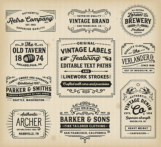 Vintage Labels and Signs Retro labels, signs, frames, banners and badges. EPS 10 file. Fonts used: Hanley Font Collection. File is layered and global colors used. AI CS file included with editable text paths. More works like this linked below. old fashioned stock illustrations