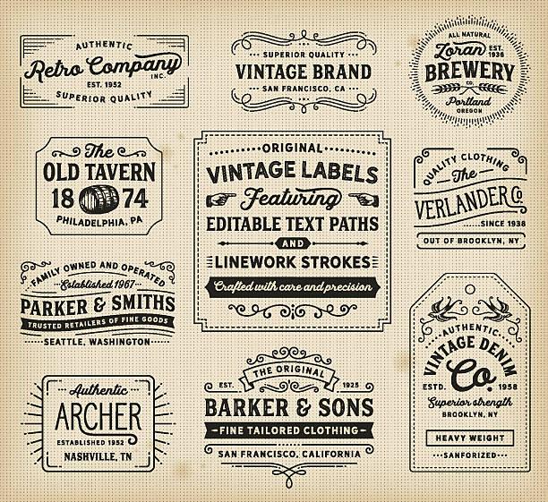 vintage labels and signs - 舊式 幅插畫檔、美工圖案、卡通及圖標