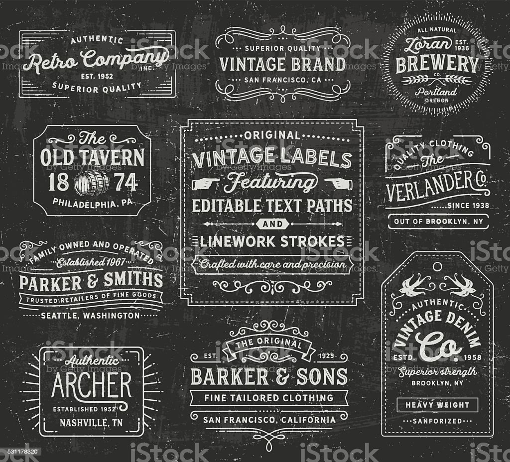 Vintage Labels and Signs royalty-free stock vector art