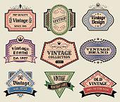 Vintage Labels Badges Set on Old Paper