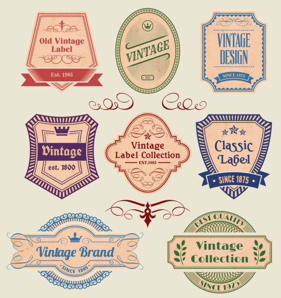 vintage labels badges set on old paper - 1940s style stock illustrations