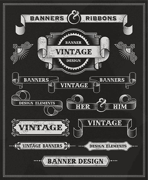 Vintage labels, banners and ribbon design set vector art illustration