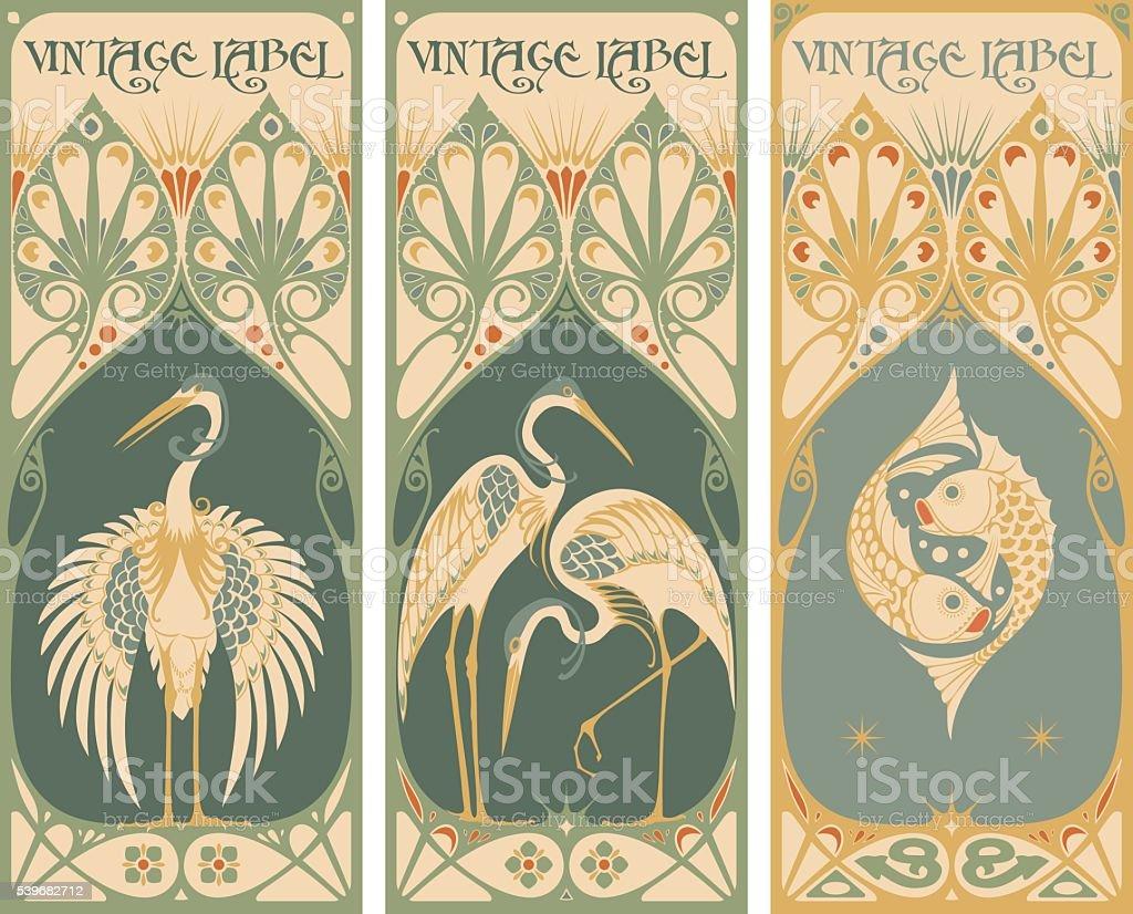 vintage labels: fish and poultry vector art illustration