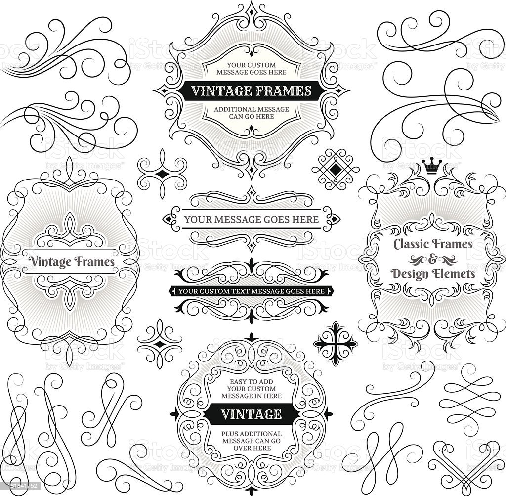 Vintage Labels, Frames and Design Elements with Copy Space royalty-free vintage labels frames and design elements with copy space stock vector art & more images of black and white