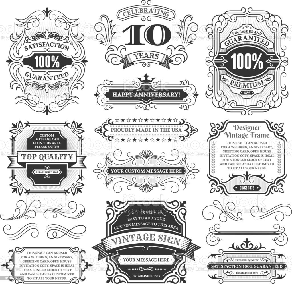 Vintage Labels, Frames and Design Elements with Copy Space royalty-free vintage labels frames and design elements with copy space stock vector art & more images of anniversary
