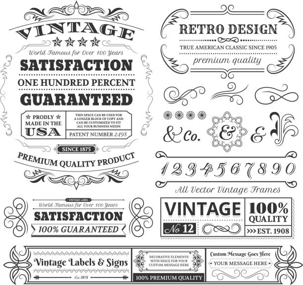 Vintage labels, frames and designs on white space Vintage Labels, Frames and Design Elements with Copy Space pattern stock illustrations