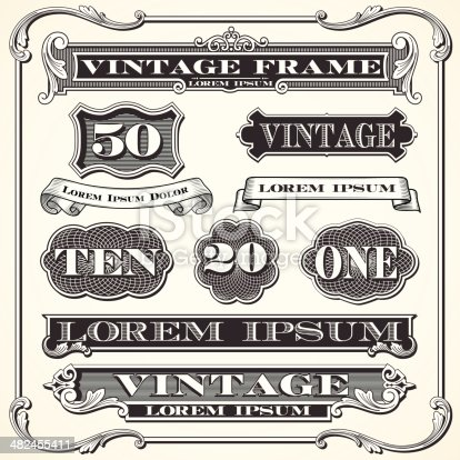 Set of vintage ornaments and frames.  Each object is grouped and colors are global for easy editing.
