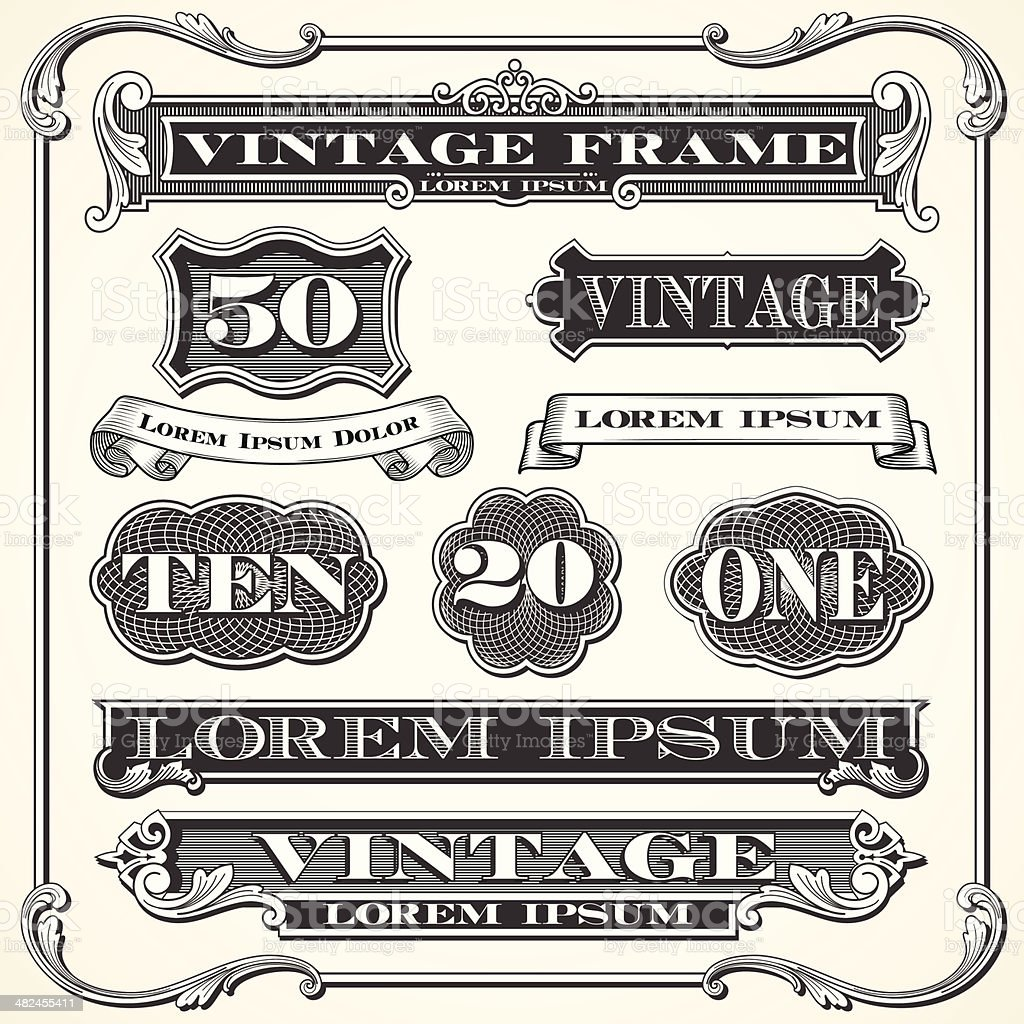 Vintage Labels, Frames and Ornaments vector art illustration