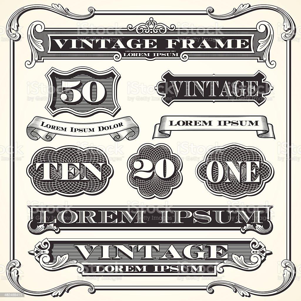 Étiquettes et Vintage Frames et éléments de décoration - Illustration vectorielle