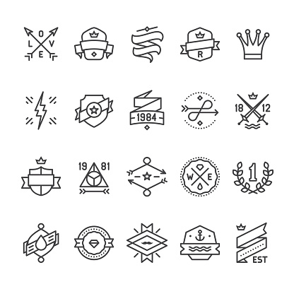 Vintage Labels, Geometric Badges and Hipster Frames related vector icons