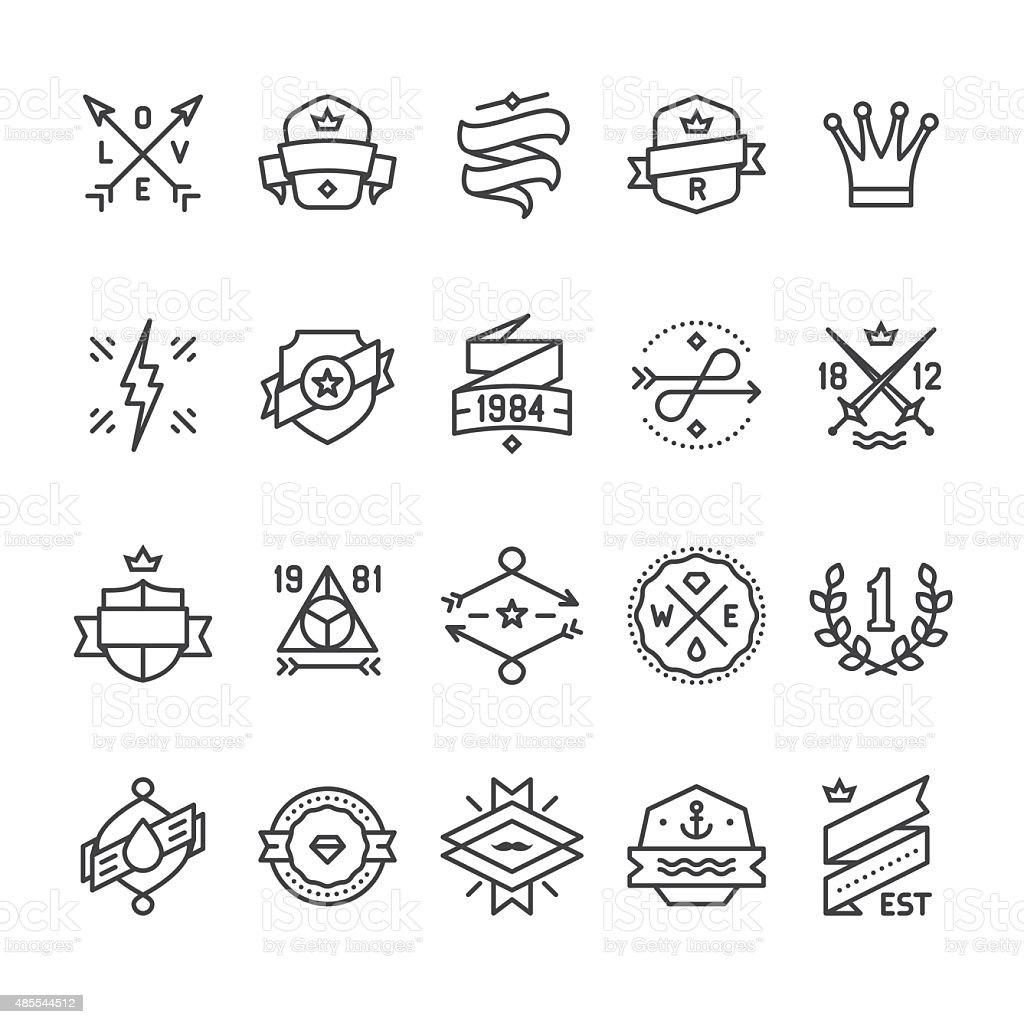 Vintage Labels, Geometric Badges and Hipster Frames related vector icons向量藝術插圖