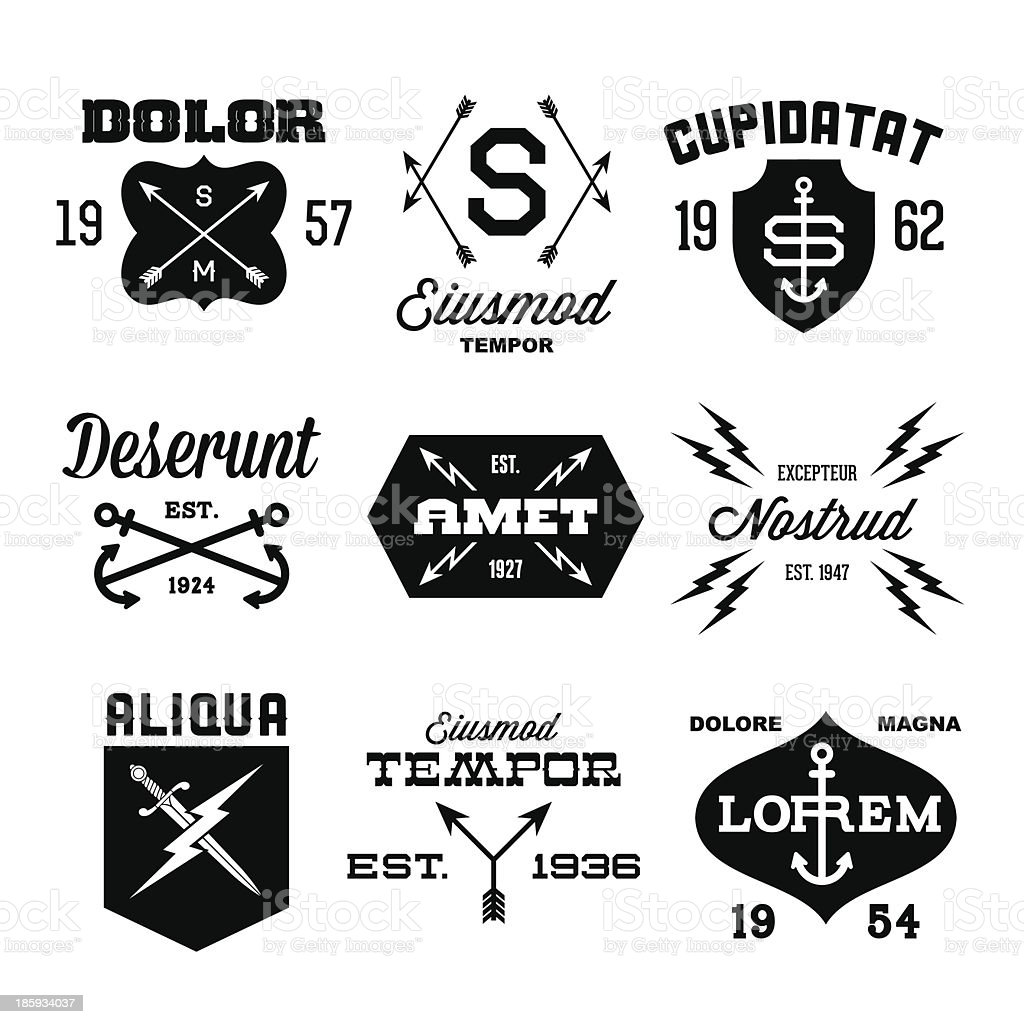 Vintage labels in black and white vector art illustration