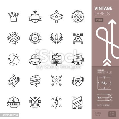 20 Vintage Labels, Geometric Badges and Frames related stroke-style icons pack.