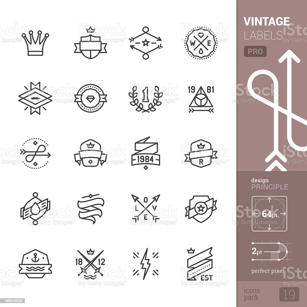 Vintage Labels related vector icons - PRO pack vector art illustration
