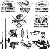 Vintage labels set for fishing club. Vector icons templates. Fishing club badge and emblem illustration