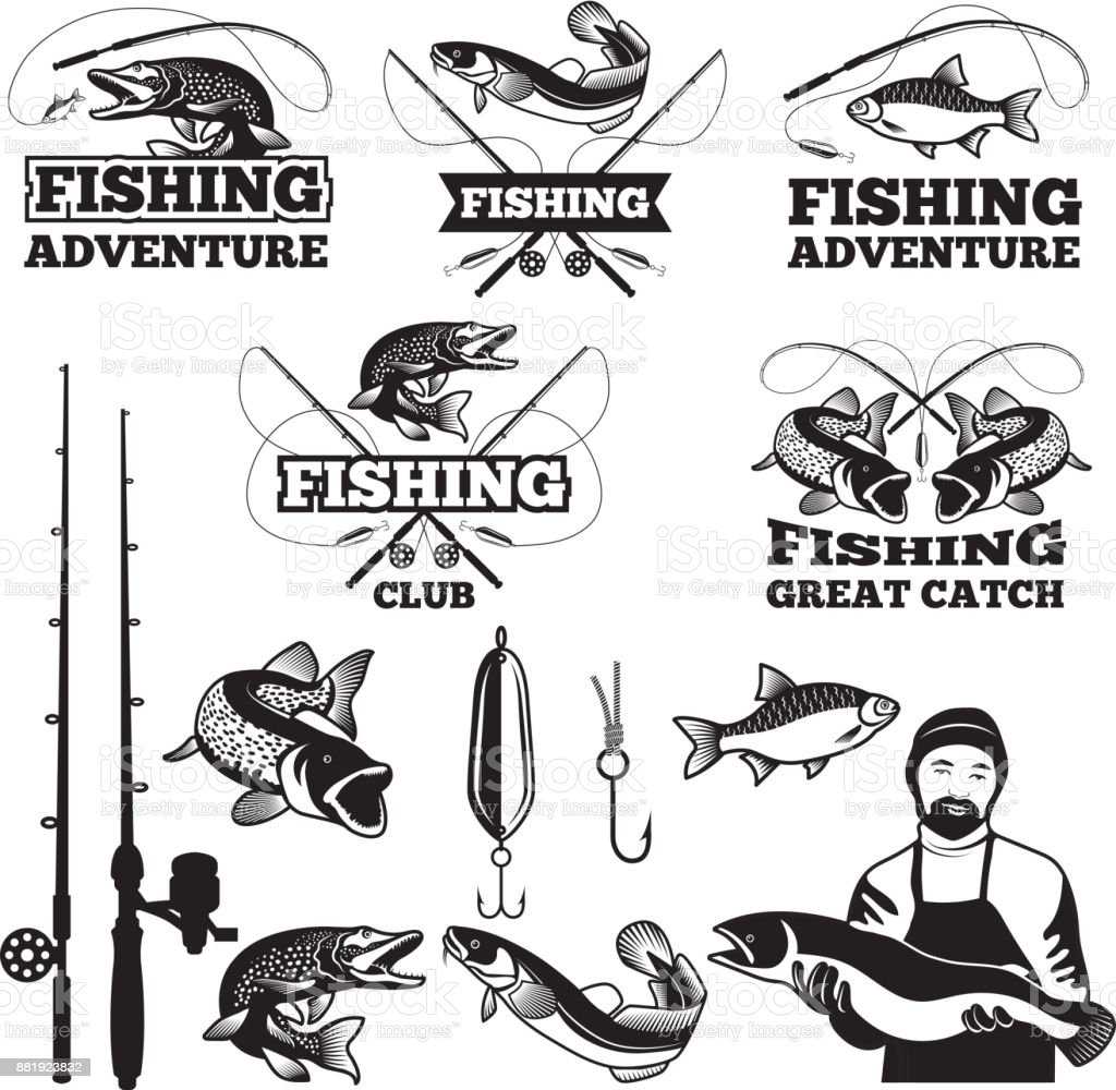 Vintage labels set for fishing club. Vector icons templates vector art illustration