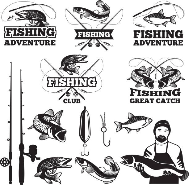 vintage labels set for fishing club. vector icons templates - fishing stock illustrations