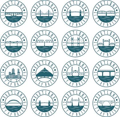 Vintage labels set of Portland , Oregon , USA . Retro emblems of bridges .