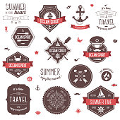 Summer and traveling collection. Vector illustration. Marine symbols.