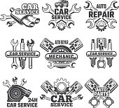 Vintage labels set with illustrations of automobile tools. Auto service or garage maintenance car vector