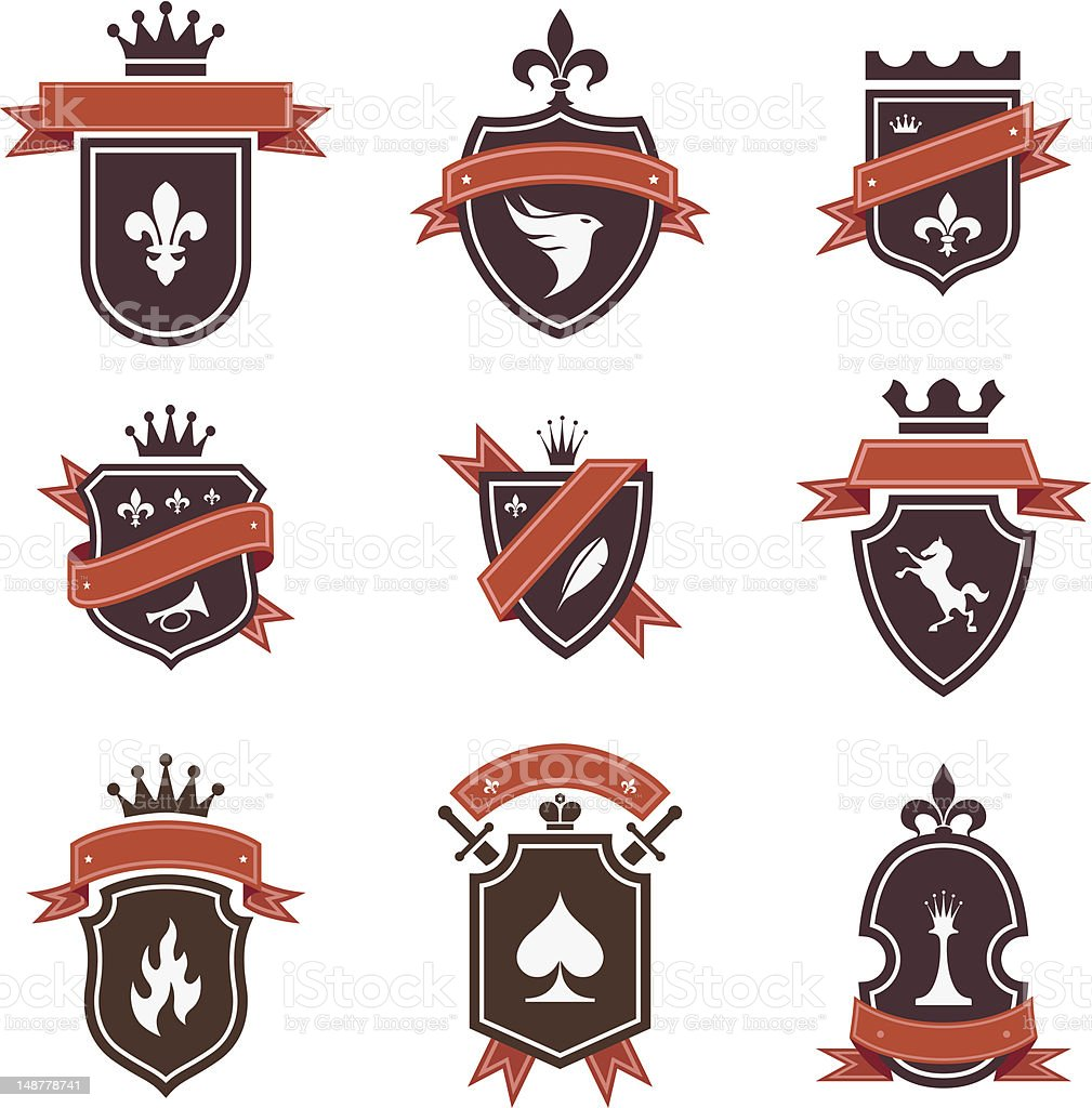 Vintage labels: shields collection royalty-free vintage labels shields collection stock vector art & more images of coat of arms