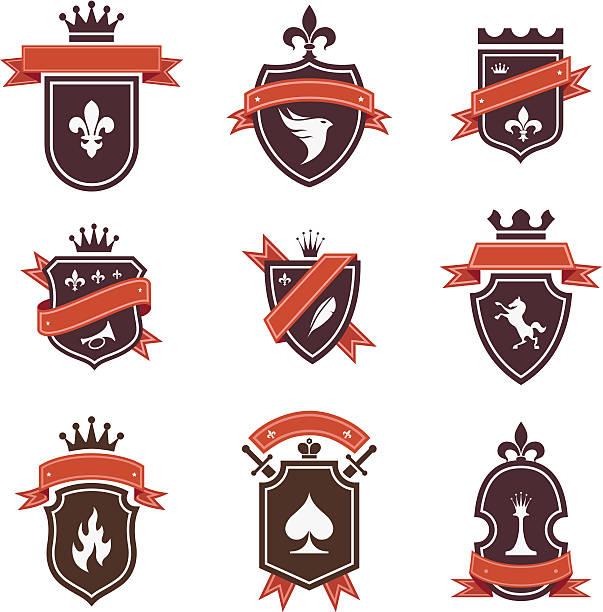 Vintage labels: shields collection vector art illustration