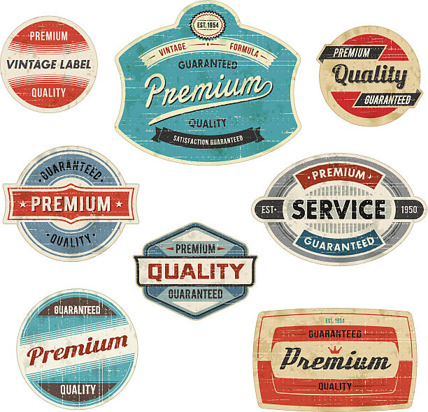 vintage labels - 1950s style stock illustrations, clip art, cartoons, & icons