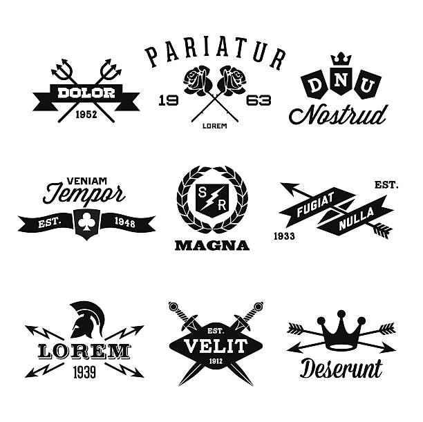 vintage labels - swords tattoos stock illustrations, clip art, cartoons, & icons