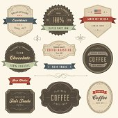 Collection of vintage labels with subtle textures. Only solid fills used. The ribbons can be removed (the labels behind them are intact). The fonts are called Kestrel, Duke and Bebas Neue.