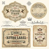 Set of vintage labels and elements. EPS 10 file with transparencies. File is grouped and layered with global colors.Only gradients used. Hi-res jpeg included.More works like this linked bellow.
