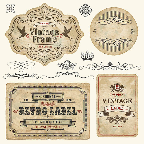 Vintage Labels Set of vintage labels and elements. EPS 10 file with transparencies. File is grouped and layered with global colors.Only gradients used. Hi-res jpeg included.More works like this linked bellow. bird borders stock illustrations